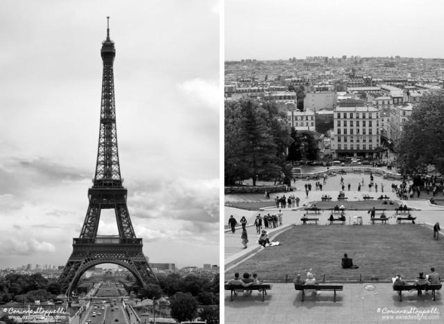 Tour Eiffel et butte de Montmartre