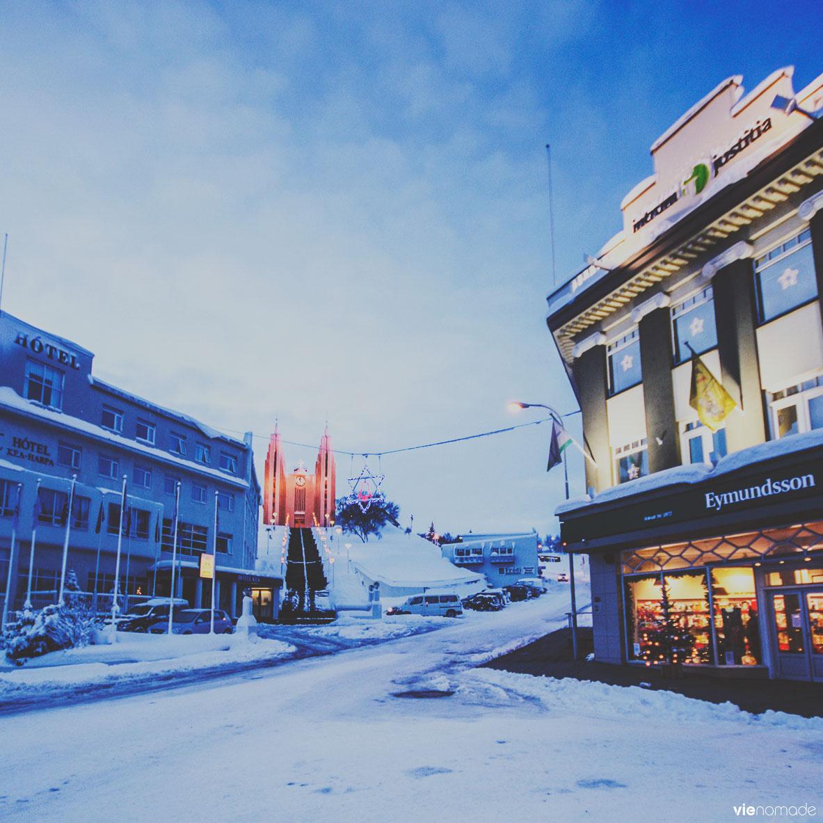 Akureyri en hiver, road trip Islande