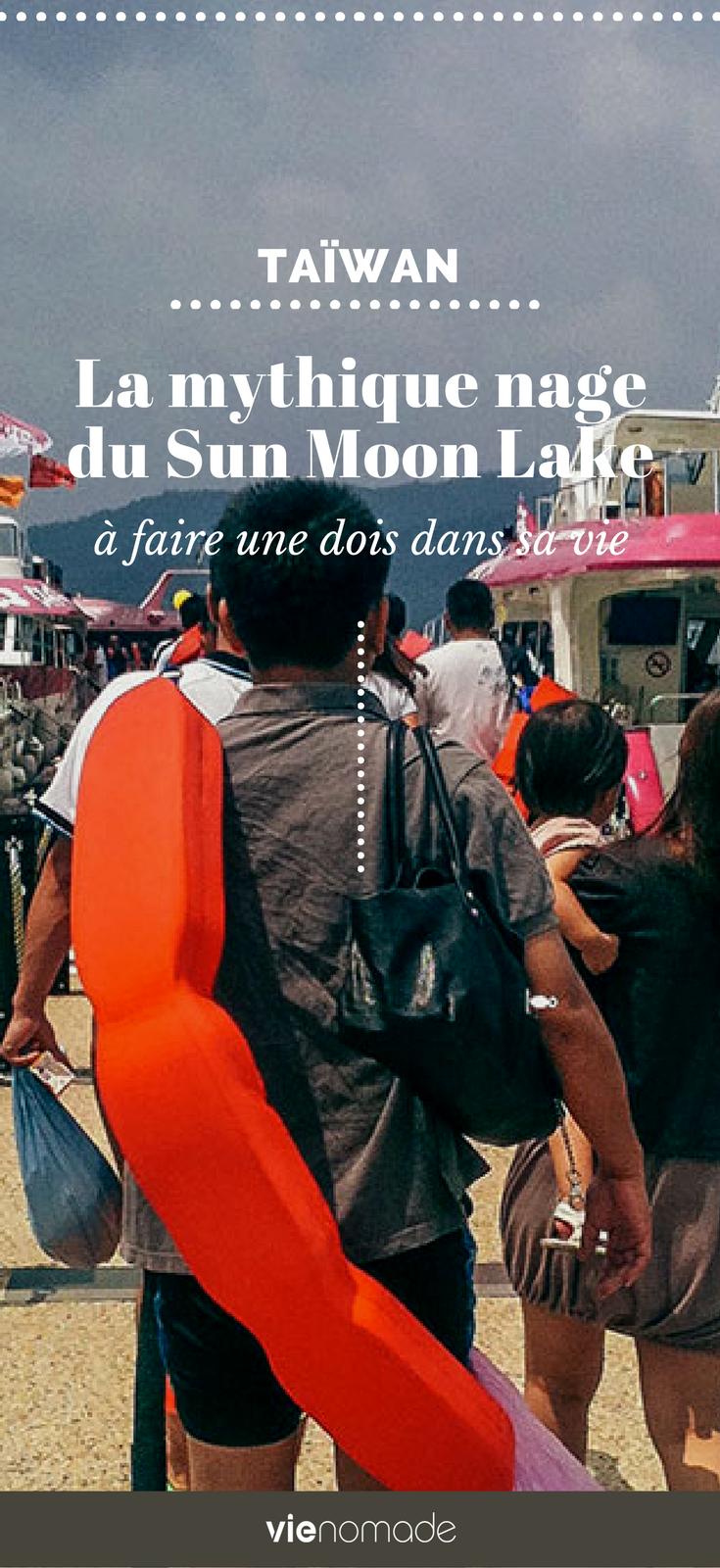 Nager au Sun Moon Lake à Taïwan