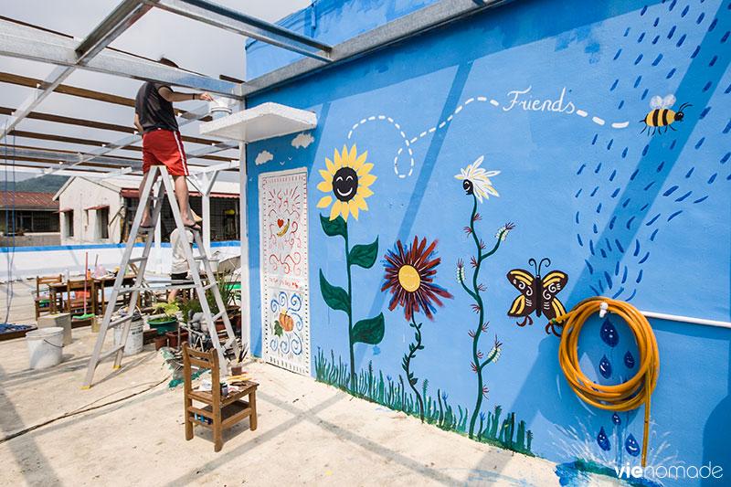 Fresque murale, à Taipei