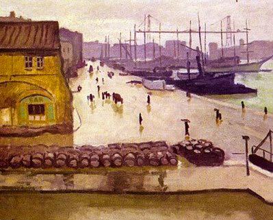 """Albert Marquet, """"Port de Marseille sous la pluie"""""""