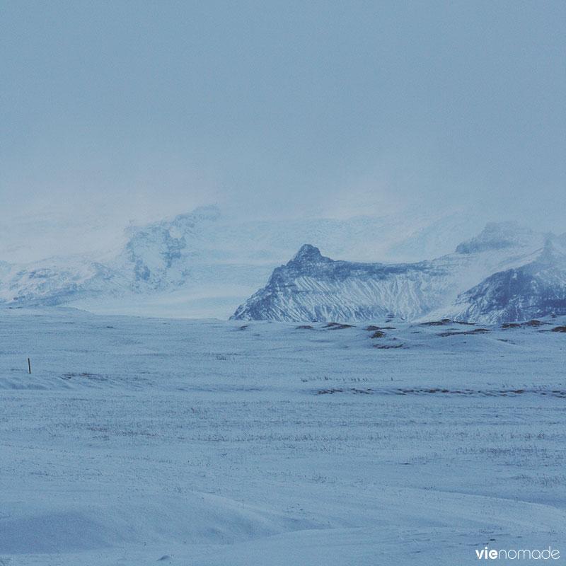 Islande: glacier Vatnajokull en hiver