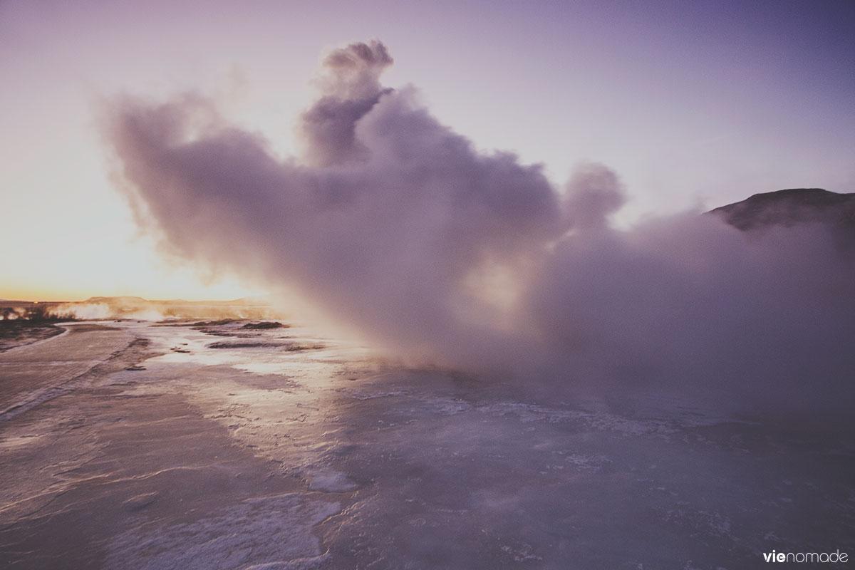 Geysir, le geyser en Islande, en hiver