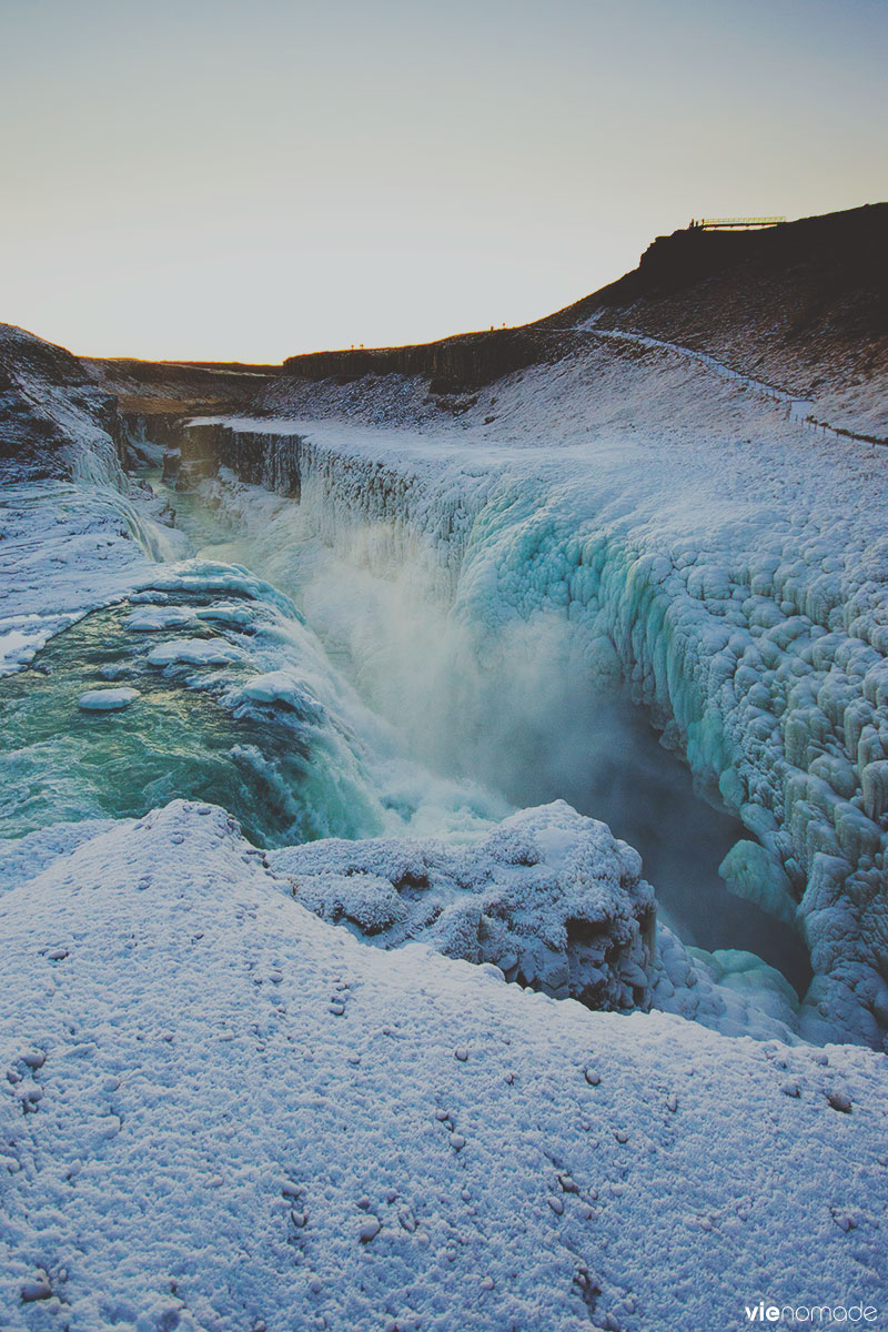 Gullfoss en hiver, chute d'eau en Islande