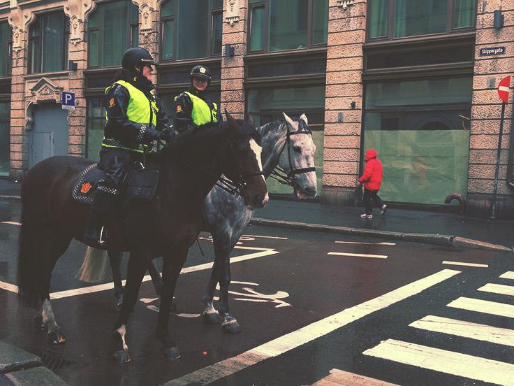 Police montée à Oslo, Norvège
