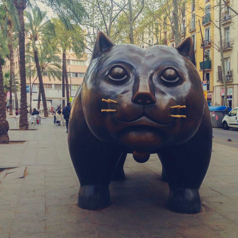 Chat de Botero à Barcelone