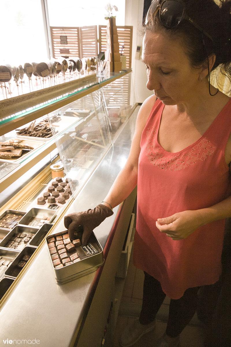 Josiane Colomb Bereni et ses chocolats