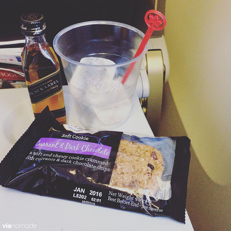 Snacks sur le vol Air Canada Paris-Montréal