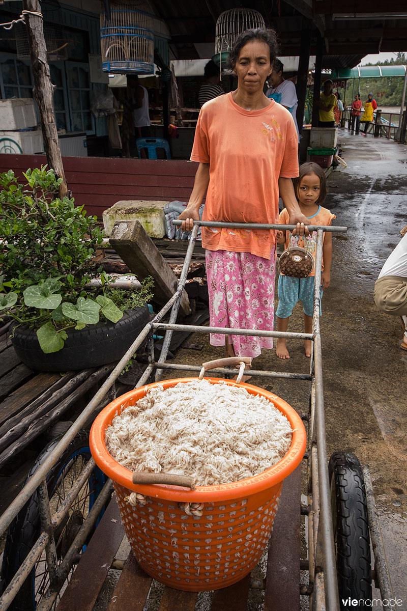 Crevettes fraîches à Bang Pat, Thaïlande