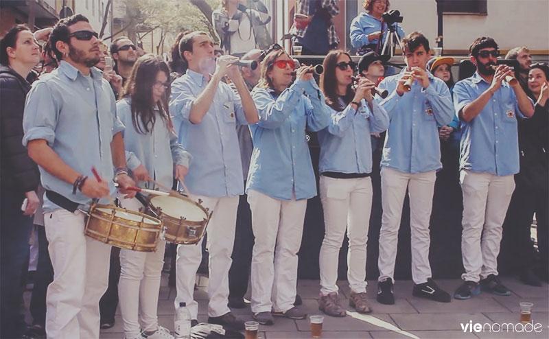 Les musiciens des castellers, Barcelone