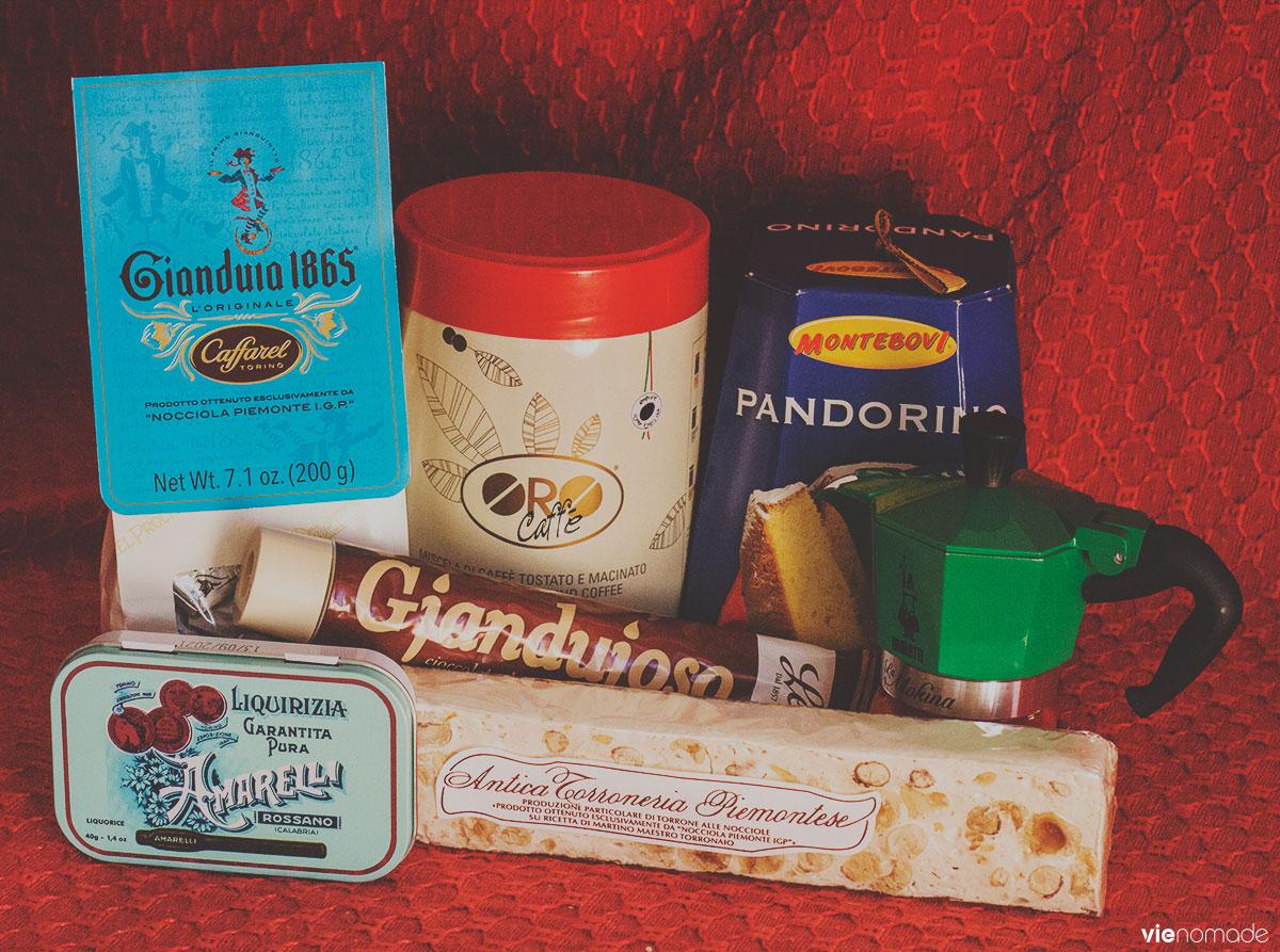 Sucreries italiennes: gianduiotti, torrone, réglisses, etc.
