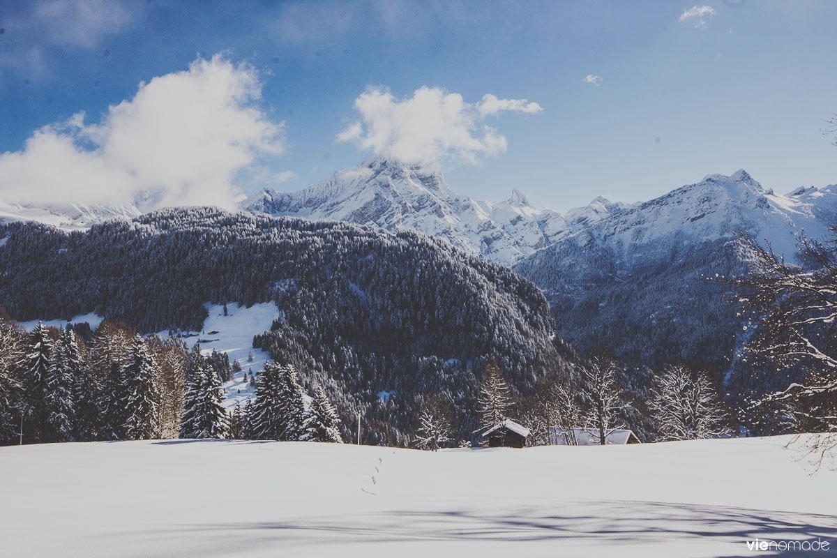 Marche dans la neige à Gryon