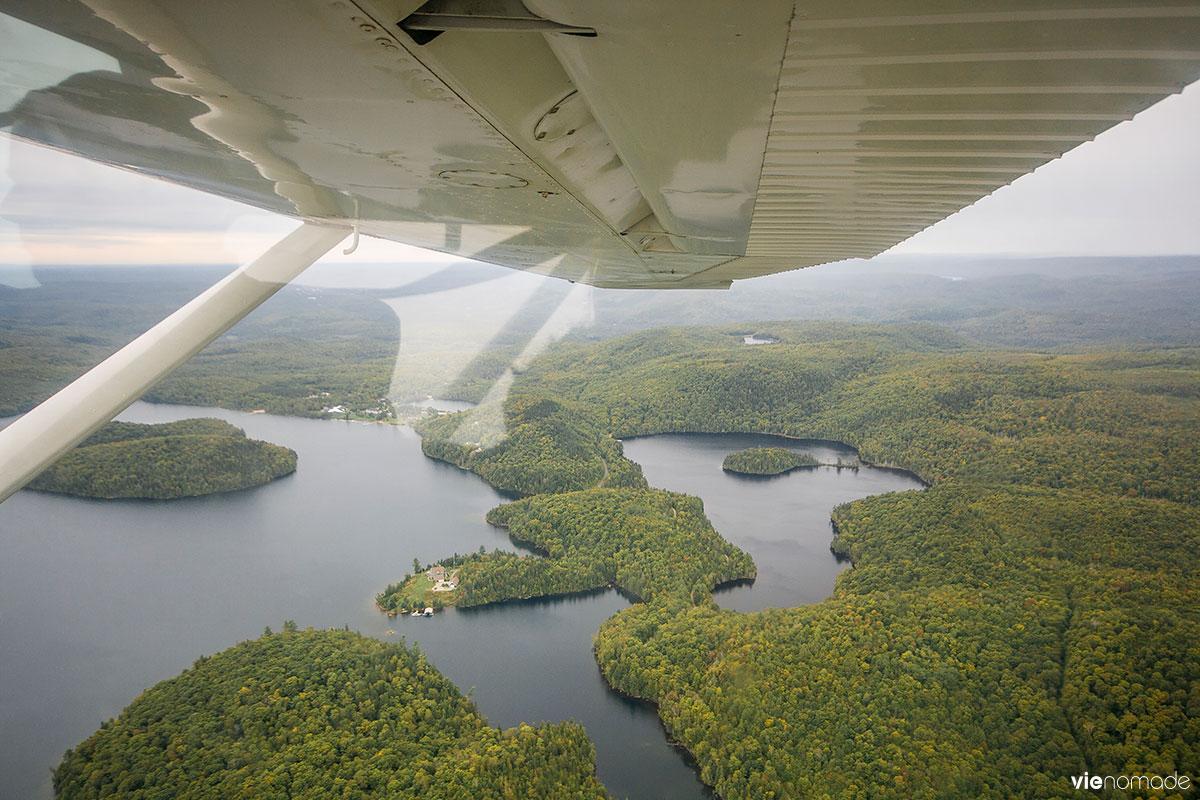 Vol en hydravion au Québec, à Sacacomie