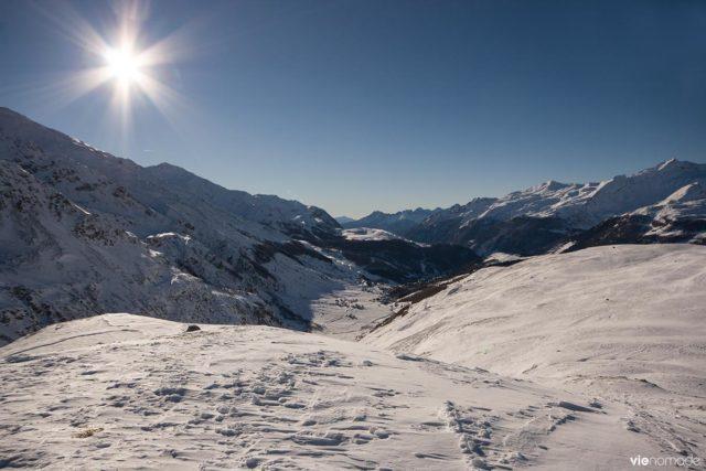 Piste de moto-neige à Madesimo dans les Alpes italiennes