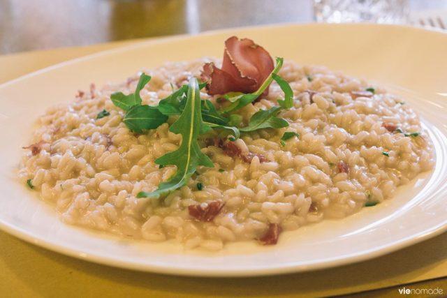 Manger à Chiavenna, au restaurant Mastai: un risotto à la bresaola