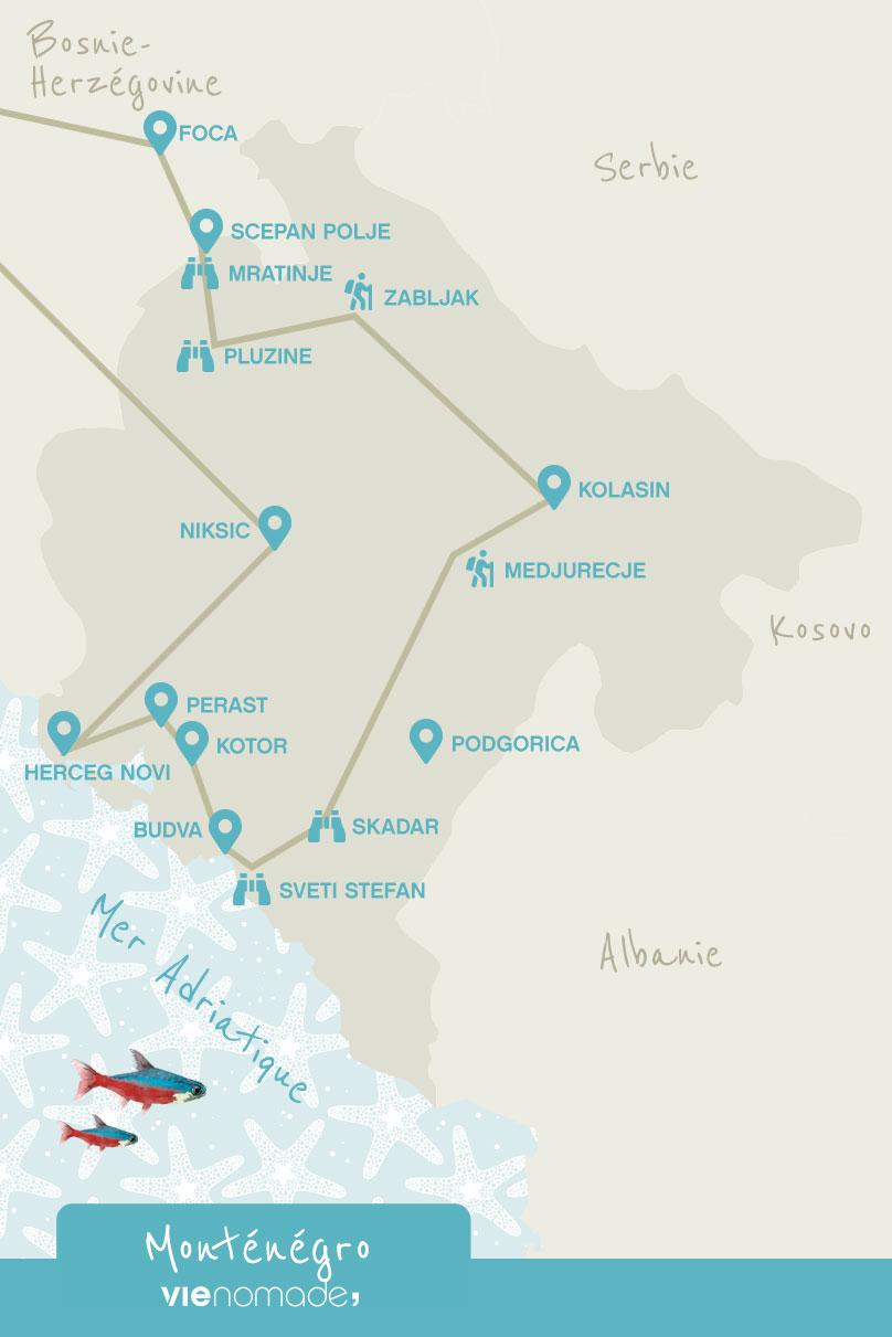 Road trip au Monténégro: itinéraire