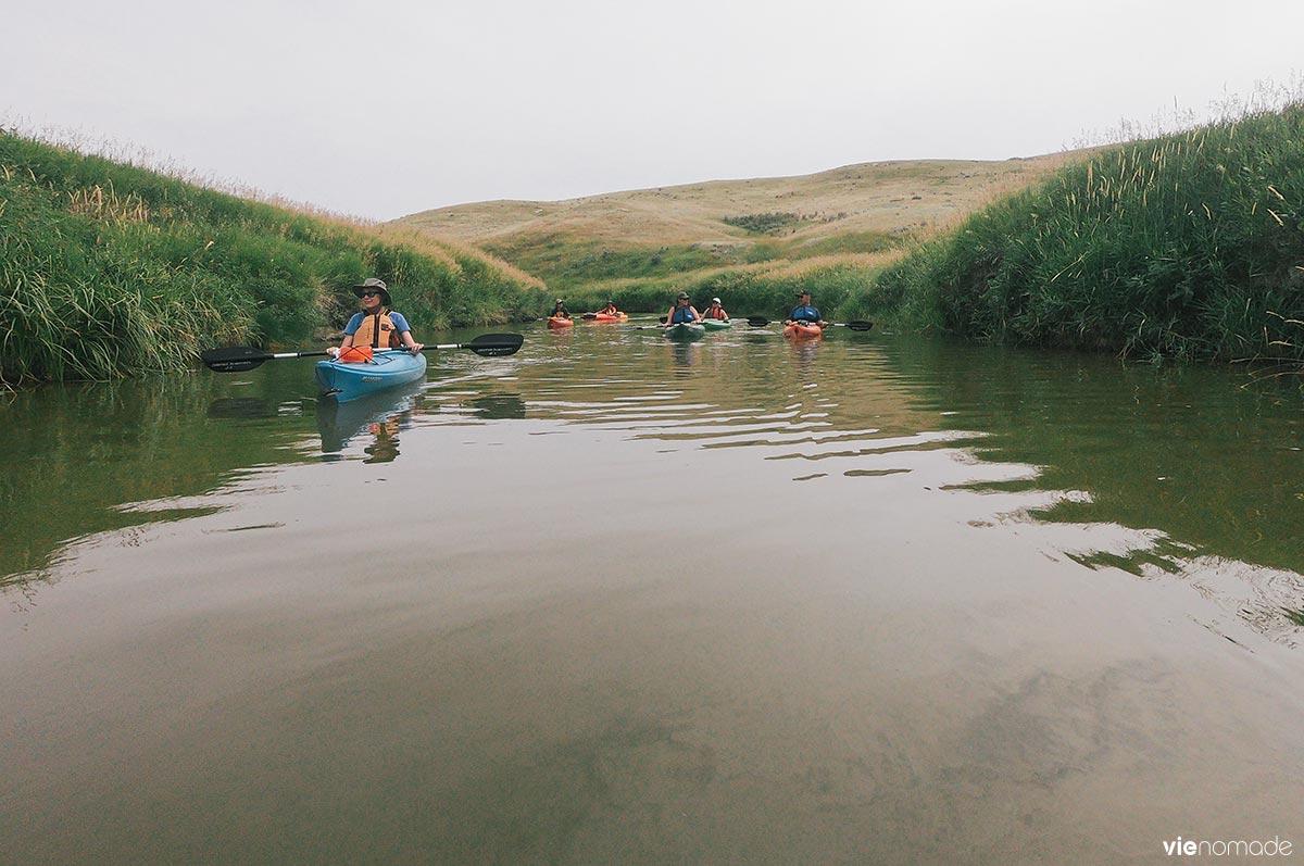 Kayak sur la rivière Frenchman, Saskatchewan
